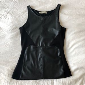 Zara Faux Leather Panel Top